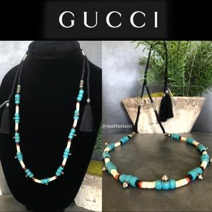 Gucci Multicolor 441776 Blue Beaded Cord Necklace